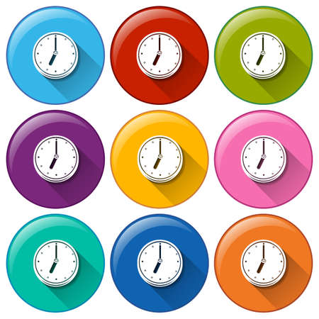 electromechanical: Circular buttons with clocks on a white background Illustration