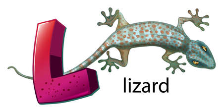 reptilia: A letter L for lizard on a white background