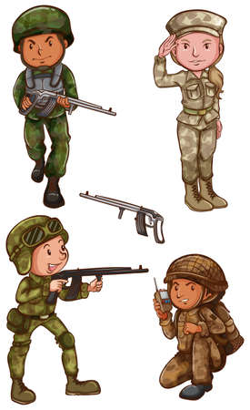 army girl: Four brave officers on a white background
