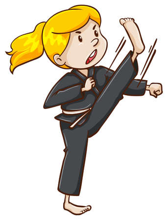 taekwondo: A drawing of a female martial arts expert on a white background