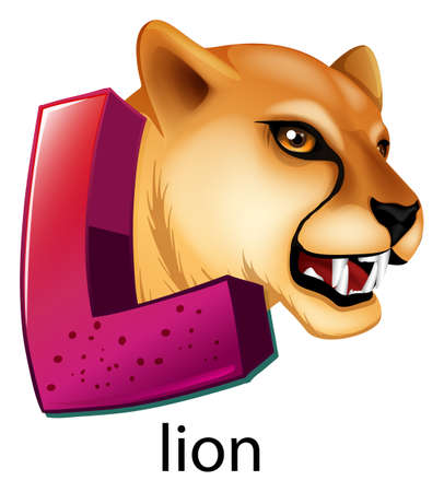 capitalized: A letter L for lion on a white background Illustration