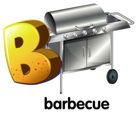 capitalized: A letter B for barbecue on a white background