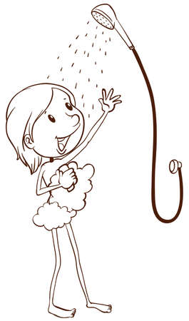 naked woman  white background: A  plain drawing of a young girl taking a shower on a white background Illustration