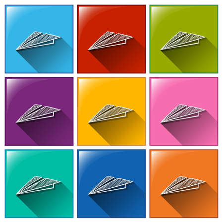 grid paper: Buttons with paper airplanes on a white background