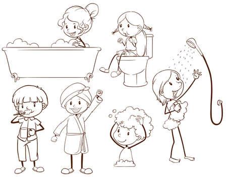 aseo personal: Bocetos simples de niños de aseo en un fondo blanco