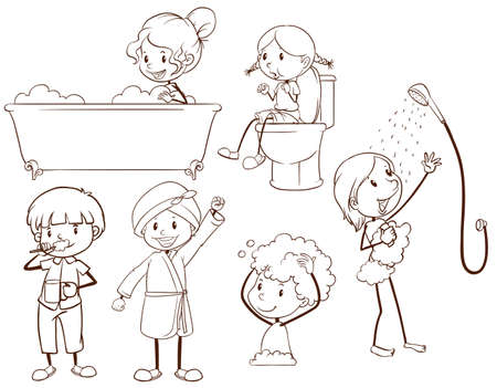 personal grooming: Plain sketches of kids grooming on a white background Illustration