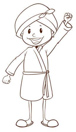 boy bath: A plain drawing of a boy taking a bath on a white background