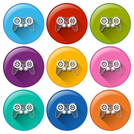 remote controls: Round buttons with video game remote controls on a white background