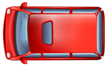 A topview of a minivan on a white background Illustration