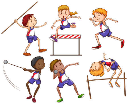 buiten sporten: Schets van de kinderen die betrokken zijn bij verschillende outdoor sporten op een witte achtergrond