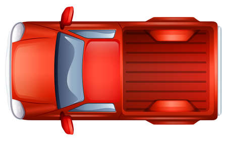 pickup: A topview of a pick-up vehicle on a white background Illustration