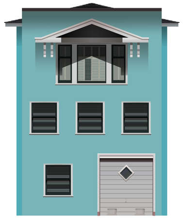 sheltering: A big blue commercial building on a white background Illustration