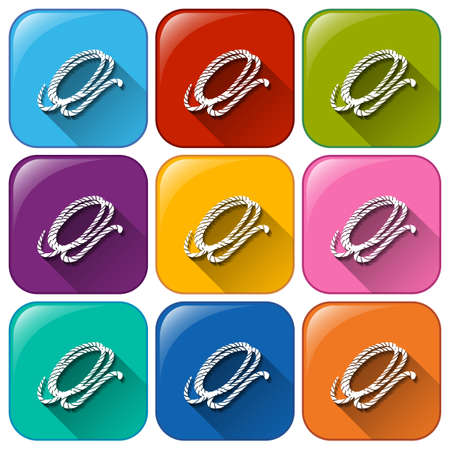 Rounded buttons with ropes on a white background Vector