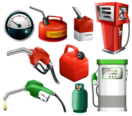 Different set of fuels on a white background Vector