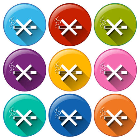 Buttons with no smoking signs on a white background Vector