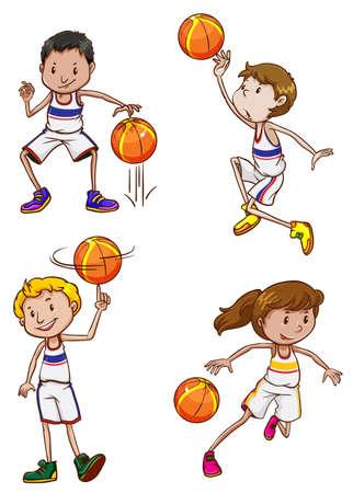 baloncesto chica: Cuatro jugadores de baloncesto enérgicas sobre un fondo blanco