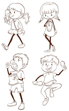 softdrink: Plain drawings of kids eating on a white background