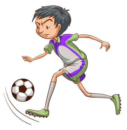 예행 연습: A sketch of a soccer player catching the ball on a white background