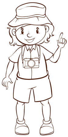 A plain drawing of a photographer on a white background