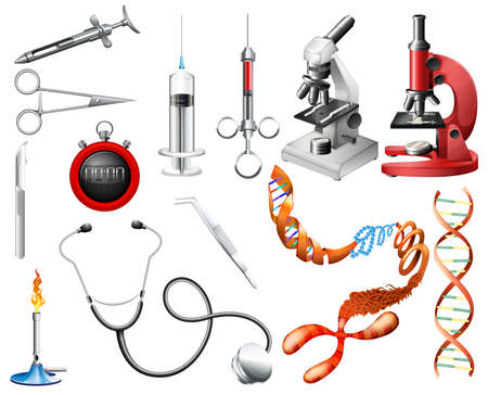 Set of laboratory tools and equipments on a white background