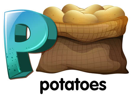 tuberous: A letter P for potatoes on a white background