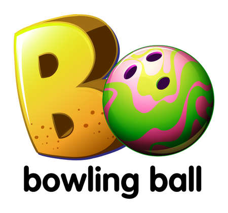 b ball: A letter B for bowling ball on a white background Illustration