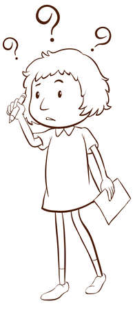 unanswered: A plain sketch of a young girl thinking on a white background