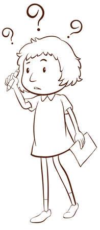onbeantwoorde: Een eenvoudige schets van een jong meisje denken op een witte achtergrond Stock Illustratie