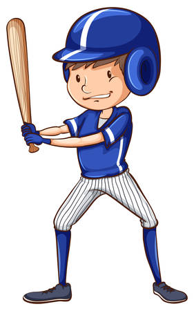 coloured: A coloured sketch of a baseball player with a bat on a white background