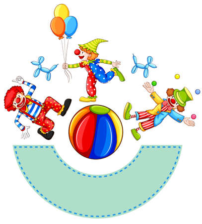 An empty template with clowns on a white background Vector