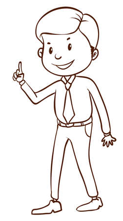 formal attire: A plain sketch of an office worker on a white background