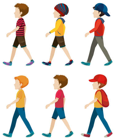 Template of the faceless boys walking on a white background
