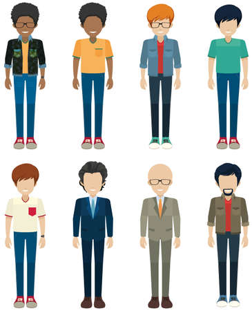Faceless bachelors on a white background Vector