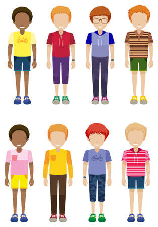 Eight faceless kids standing on a white background Vector