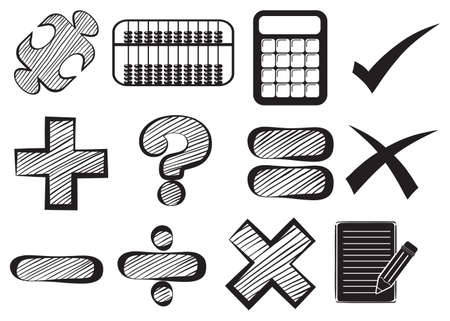 addition: Doodle design of the different math operations on a white background