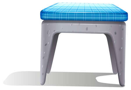 metal legs: A plastic chair furniture with a blue pillow on a white background