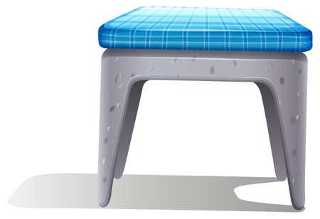 ergonomie: Ein Kunststoff-Stuhl-M�bel mit einem blauen Kissen auf wei�em Hintergrund Illustration