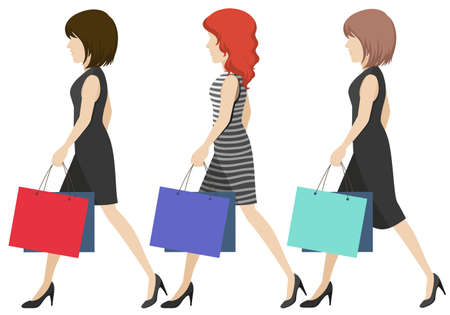 sideview: Three women shoppers on a white background Illustration