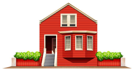 A big wooden house on a white background Vector