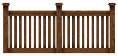 panelling: A wooden fence template on a white background