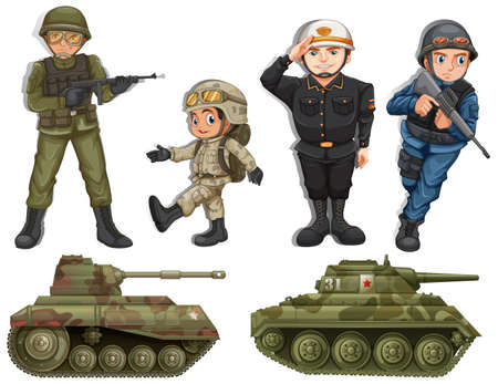 armed forces: A group of soldiers with tanks on a white background