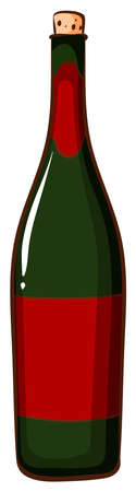 A drawing of a bottle of champaigne on a white background Vector