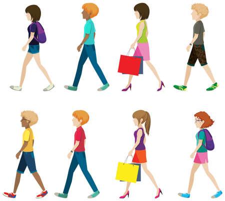 niño con mochila: Hombre y mujer sin rostro sobre un fondo blanco