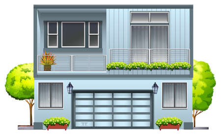 A house with balcony on a white background Vector