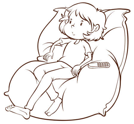 tiresome: A plain sketch of a couch with a lazy young girl on a white background Illustration