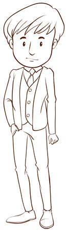 formal wear: A plain drawing of a boy in a formal attire on a white background Illustration