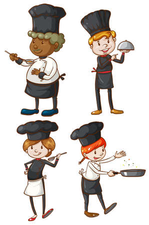 Drawings of the four excellent chefs on a white background Vector