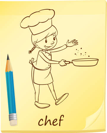 culinary arts: A post-it with a female chef on a white background
