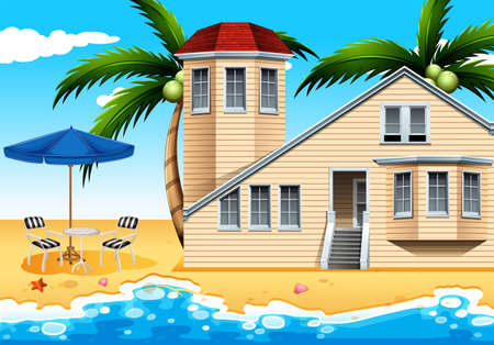 wavelengths: A relaxing vacation house at the beach Illustration