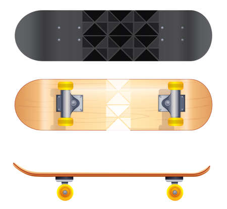 rollers: A topview of the skateboard templates on a white background